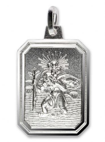 Sterling Silver Rectangular St. Christopher Including Chain 36620
